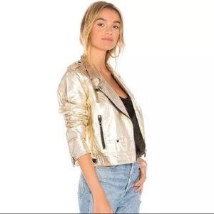 BlankNYC x Revolve Metallic Moto Jacket Gold